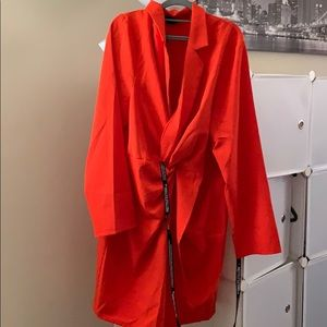 Plus size bright orange twist front shirt dress